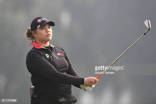 Ariya Jutanugarn of Thailand hits her tee shot on the 3rd hole during the 3rd round of the 2016 Reignwood LPGA Classic on October 1 2016 in Beijing...