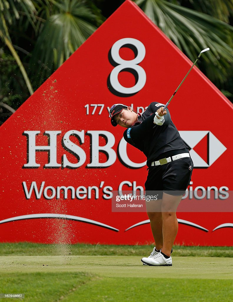 Ariya Jutanugarn of Thailand hits her tee shot on the 8th hole during the third round of the HSBC Women's Champions at the Sentosa Golf Club on March 2, 2013 in Singapore, Singapore.