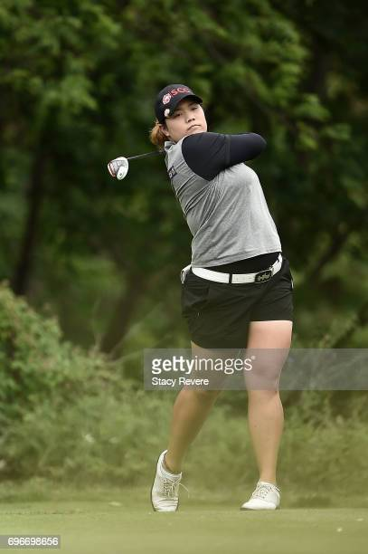 Ariya Jutanugarn of Thailand hits her tee shot on the eighth hole during the second round of the Meijer LPGA Classic at Blythefield Country Club on...