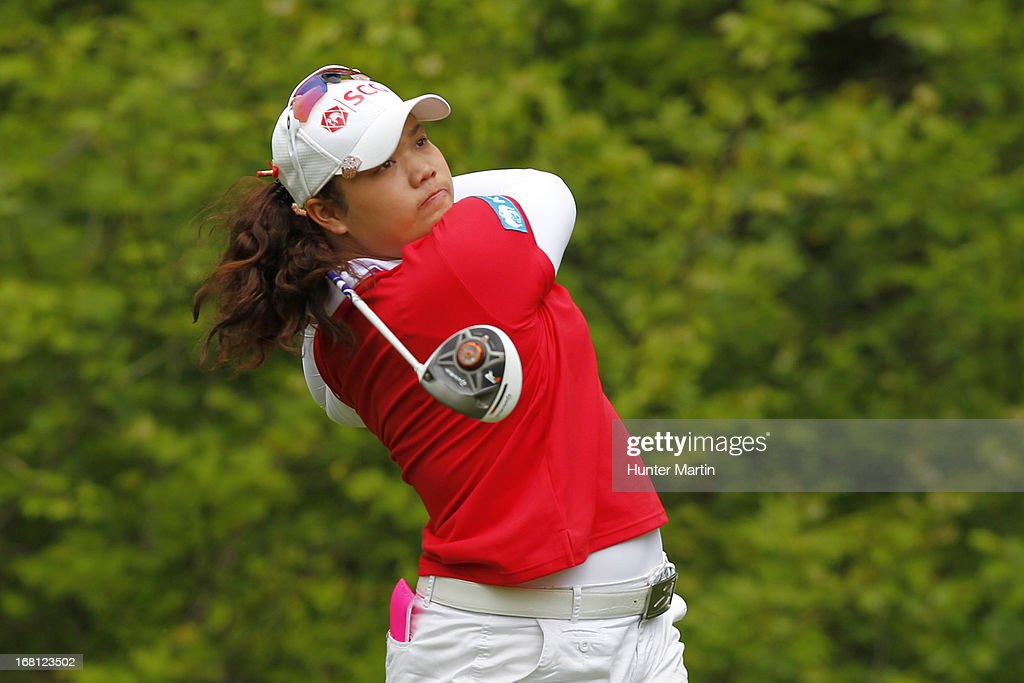 Ariya Jutanugarn of Thailand hits her tee shot on the sixth hole during the final round of the Kingsmill Championship at Kingsmill Resort on May 5, 2013 in Williamsburg, Virginia.