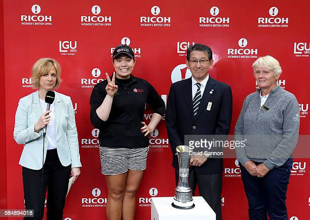 Ariya Jutanugarn of Thailand is interviewed by Hazel Irvine for the BBC as Jake Yamashita from Ricoh and Trish Johnson from the LGU look on after her...