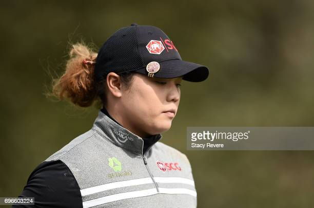 Ariya Jutanugarn of Thailand leaves the 16th tee during the second round of the Meijer LPGA Classic at Blythefield Country Club on June 16 2017 in...