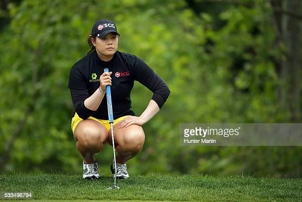 Ariya Jutanugarn of Thailand lines up her birdie putt on the 15th hole during the final round of the Kingsmill Championship presented by JTBC on the...