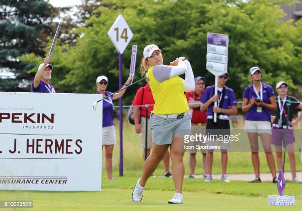 Ariya Jutanugarn of Thailand looks down the fairway after her tee shot on hole number fourteen during the first round of the Thornberry Creek LPGA...