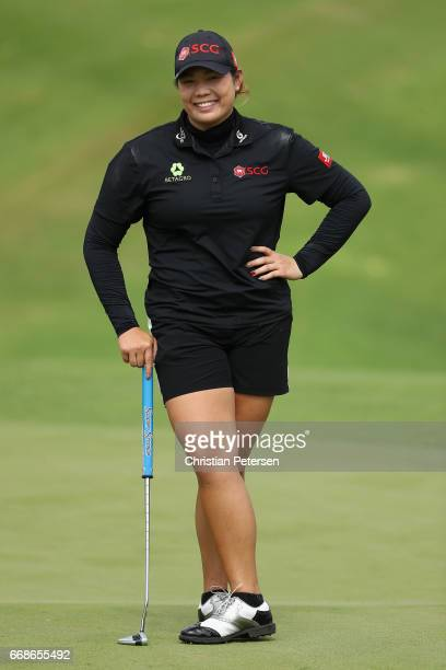 Ariya Jutanugarn of Thailand on the eighth green during the third round of the LPGA LOTTE Championship Presented By Hershey at Ko Olina Golf Club on...