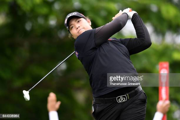 Ariya Jutanugarn of Thailand plays a shot during round one of the Honda LPGA Thailand at Siam Country Club on February 23 2017 in Chonburi Thailand