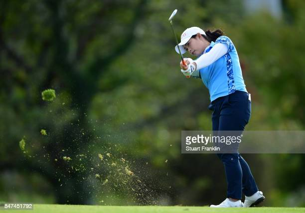 Ariya Jutanugarn of Thailand plays a shot during the weather delayed first round of The Evina Championship at Evian Resort Golf Club on September 15...
