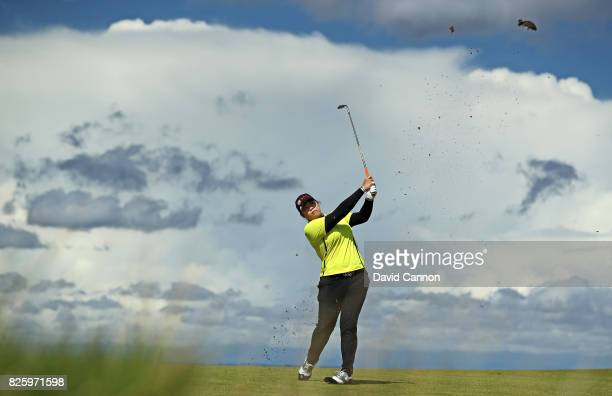Ariya Jutanugarn of Thailand plays her second shot on the fourth hole during the first round of the Ricoh Women's British Open at Kingsbarns Golf...