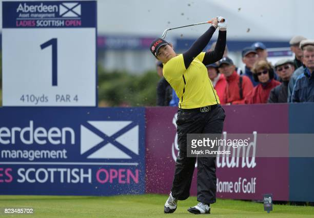Ariya Jutanugarn of Thailand plays her tee shot to the 1st hole during the first day of the Aberdeen Asset Management Ladies Scottish Open at...
