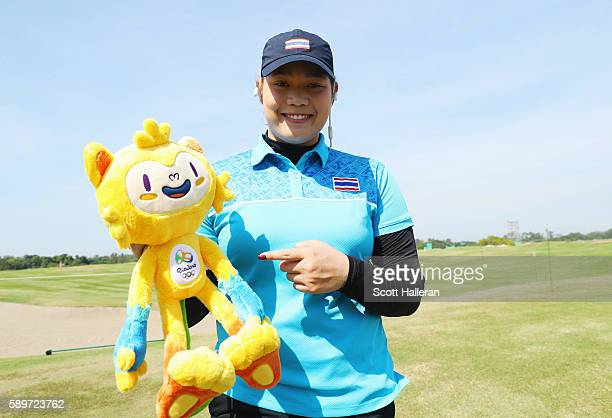 Ariya Jutanugarn of Thailand poses during a practice round prior to the start of the women's golf during Day 10 of the Rio 2016 Olympic Games at...