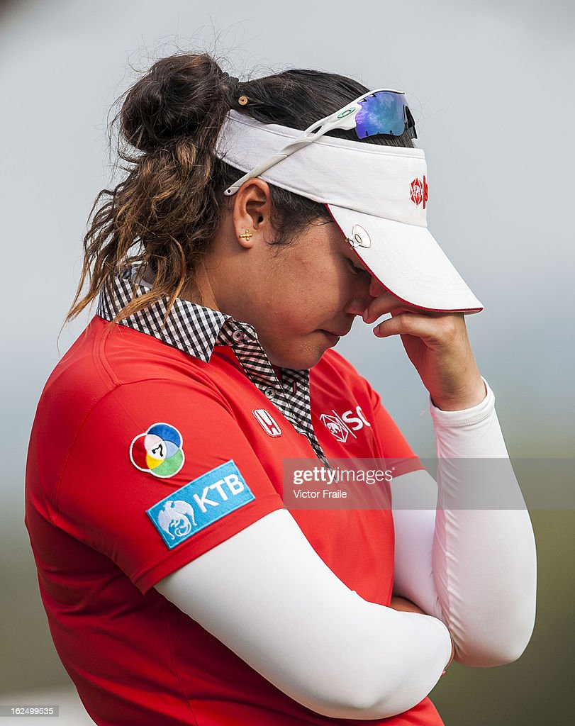 Ariya Jutanugarn of Thailand reacts after a triple bogey on the 18th green during day four of the Hond LPGA Thailand at Siam Country Club on February 24, 2013 in Chon Buri, Thailand. Inbee Park of South Korea won the event.