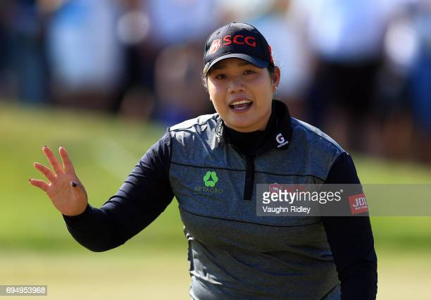 Ariya Jutanugarn of Thailand reacts after sinking her birdie putt on the 1st playoff hole to win during the final round of the Manulife LPGA Classic...