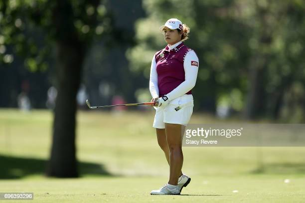 Ariya Jutanugarn of Thailand reacts to a shot on the 15th hole during the first round of the Meijer LPGA Classic at Blythefield Country Club on June...