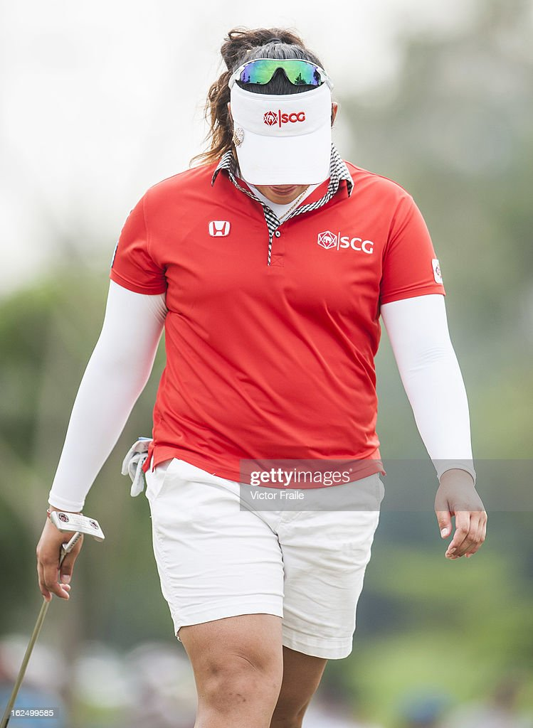 Ariya Jutanugarn of Thailand reacts to her putt shot on the 15th green during day four of the Hond LPGA Thailand at Siam Country Club on February 24, 2013 in Chon Buri, Thailand. Inbee Park of South Korea won the event.