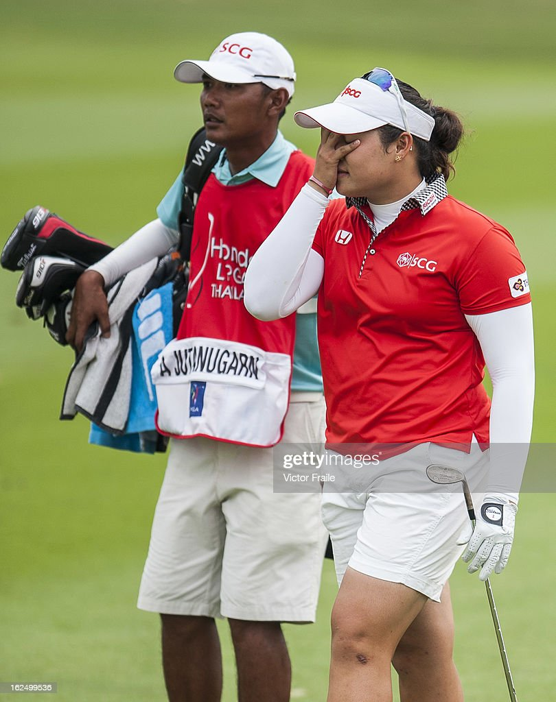 Ariya Jutanugarn of Thailand reacts to her second shot on the 15th hole during day four of the Hond LPGA Thailand at Siam Country Club on February 24, 2013 in Chon Buri, Thailand. Inbee Park of South Korea won the event.