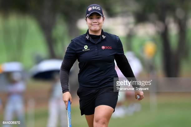 Ariya Jutanugarn of Thailand smiles during round one of the Honda LPGA Thailand at Siam Country Club on February 23 2017 in Chonburi Thailand