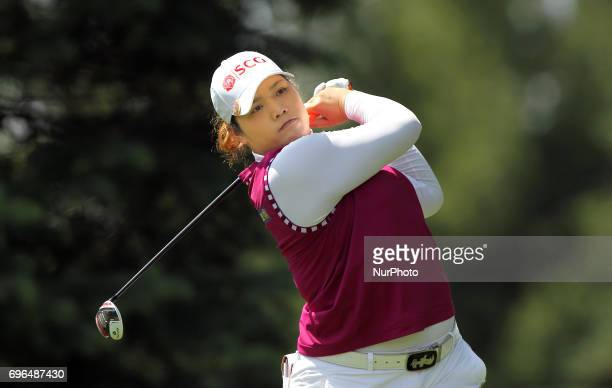 Ariya Jutanugarn of Thailand tees off on the 9th tee during the first round of the Meijer LPGA Classic golf tournament at Blythefield Country Club in...