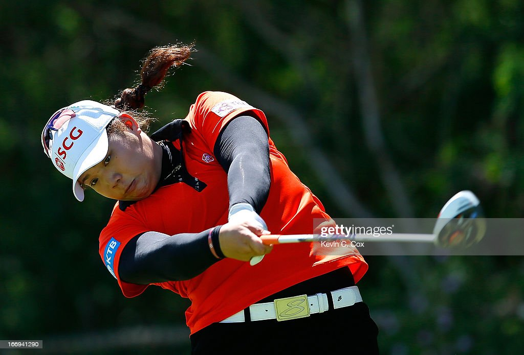 Ariya Jutanugarn of Thailand tees off the fifth hole during the second round of the LPGA LOTTE Championship Presented by J Golf at the Ko Olina Golf Club on April 18, 2013 in Kapolei, Hawaii.