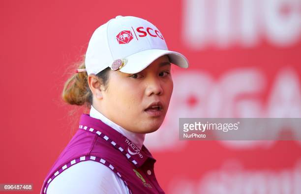 Ariya Jutanugarn of Thailand waits for the official on the 17th green during the first round of the Meijer LPGA Classic golf tournament at...