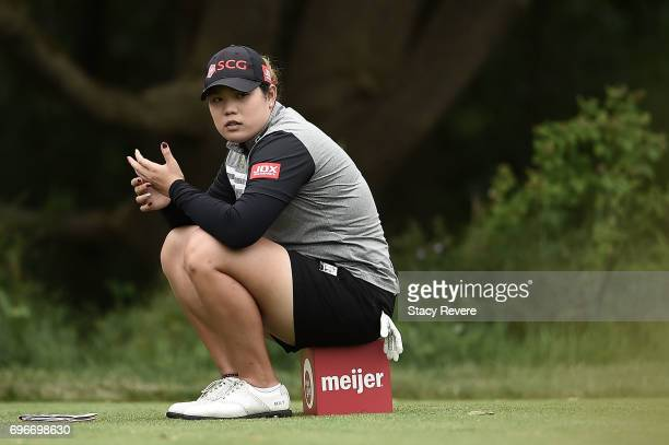 Ariya Jutanugarn of Thailand waits on the 17th tee during the second round of the Meijer LPGA Classic at Blythefield Country Club on June 16 2017 in...
