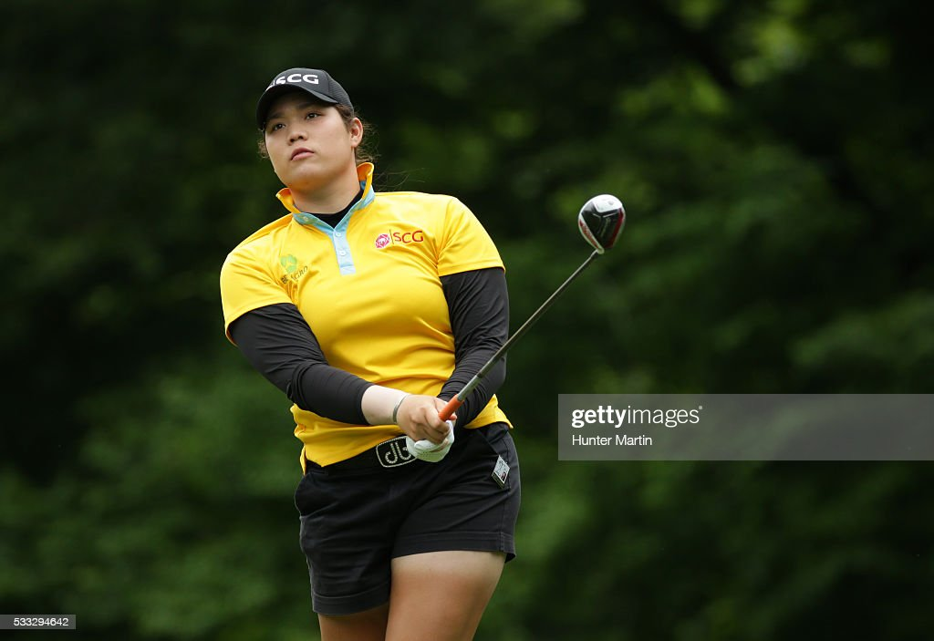 Ariya Jutanugarn of Thailand watches her tee shot on the fourth hole during the third round of the Kingsmill Championship presented by JTBC on the...
