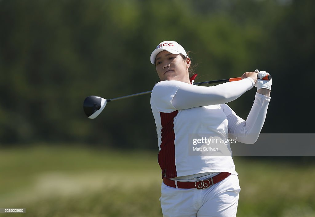 Ariya Jutanugarn of Thailand watches her tee shot on the ninth hole during the second round of the Yokohama Tire Classic on May 06, 2016 in Prattville, Alabama.
