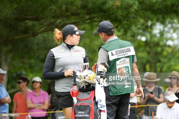 Ariya Jutanugarn talks with her caddy on the 2nd hole during the second round of the Meijer LPGA Classic on June 16 2017 at the Blythefield Country...