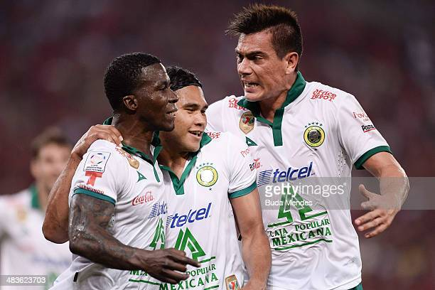 Arizala of Leon celebrates a scored goal against Flamengo during a match between Flamengo and Leon as part of Copa Bridgestone Libertadores 2014 at...