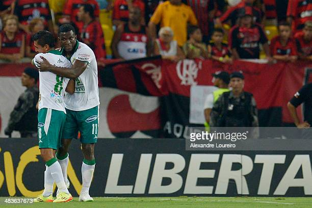Arizala of Leon celebrates a scored goal during a match between Flamengo and Leon as part of Copa Bridgestone Libertadores 2014 at Maracana Stadium...