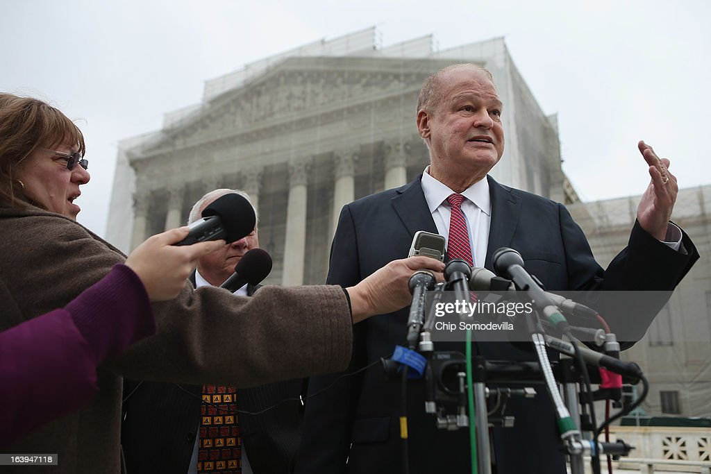 Arizona Attorney General Thomas Horne talks with reporters outside the U.S. Supreme Court after attending oral arguements in Arizona v. Inter Tribal Council et al. March 18, 2013 in Washington, DC. The court is hearing arguments about the constitutionality of an Arizona law requiring applicants to prove their citizenship before registering to vote under the federal National Voter Registration Act.