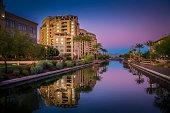 Arizona Canal running through Scottsdale,Az,USA at sunset