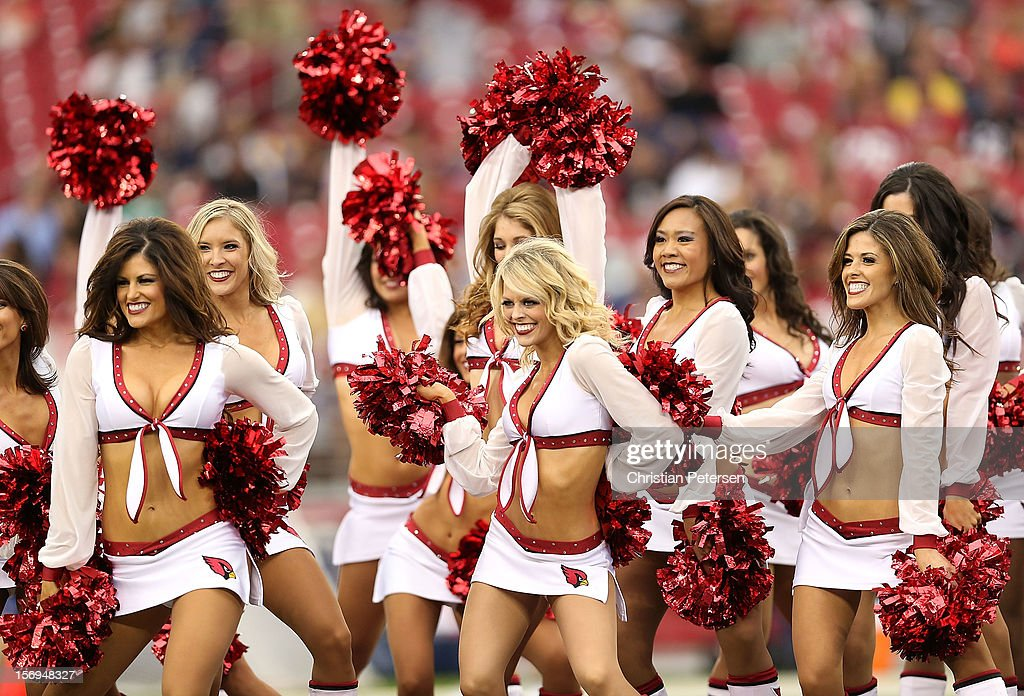 Arizona Cardinals cheerleaders perform before the NFL game against the St. Louis Rams at the University of Phoenix Stadium on November 25, 2012 in Glendale, Arizona. The Rams defeated the Cardinals 31-17.