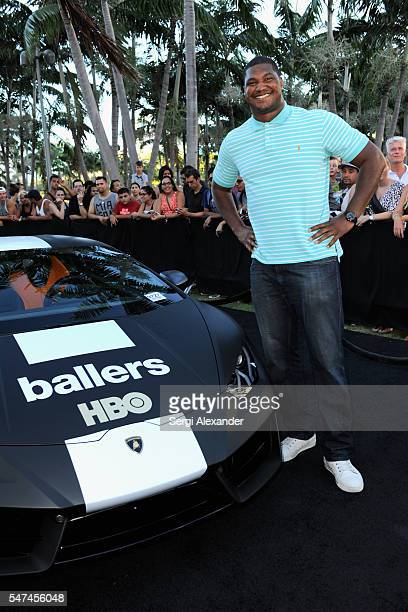 Arizona Cardinals defensive end Calais Campbell attends the HBO Ballers Season 2 Red Carpet Premiere and Reception on July 14 2016 at New World...