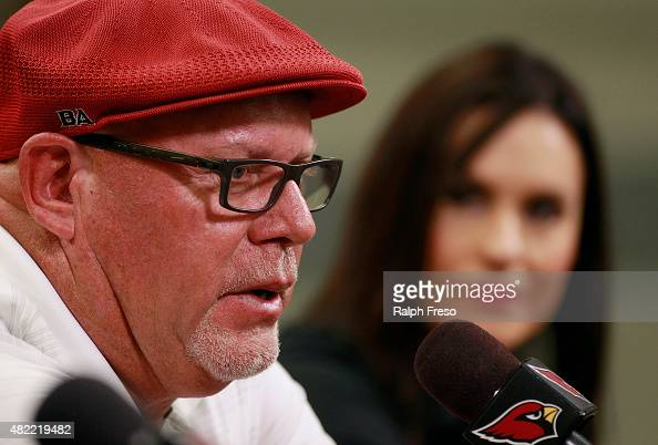 Arizona Cardinals head coach Bruce Arians speaks during a press conference introducing Jen Welter as an addition to the team's coaching staff on July...