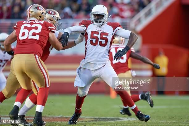 Arizona Cardinals outside linebacker Chandler Jones battles with San Francisco 49ers offensive tackle Erik Magnuson during an NFL game between the...