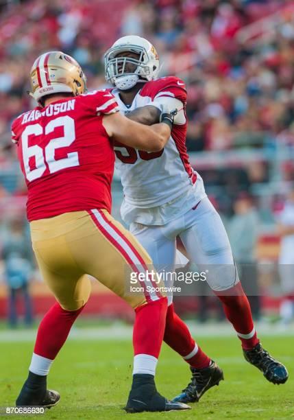 Arizona Cardinals outside linebacker Chandler Jones is met by San Francisco 49ers offensive tackle Erik Magnuson during the regular season game...
