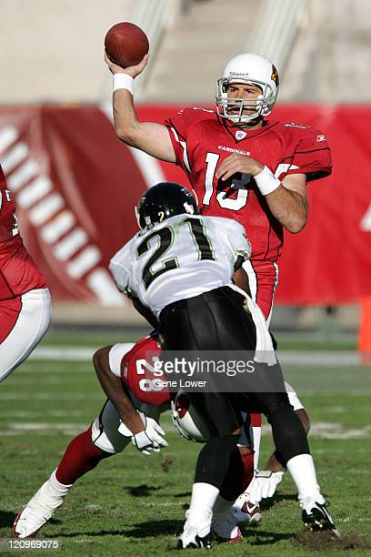 Arizona Cardinals quarterback Kurt Warner unleashes a pass downfield during a game against the Jacksonville Jaquars at Sun Devil Stadium in Tempe AZ...