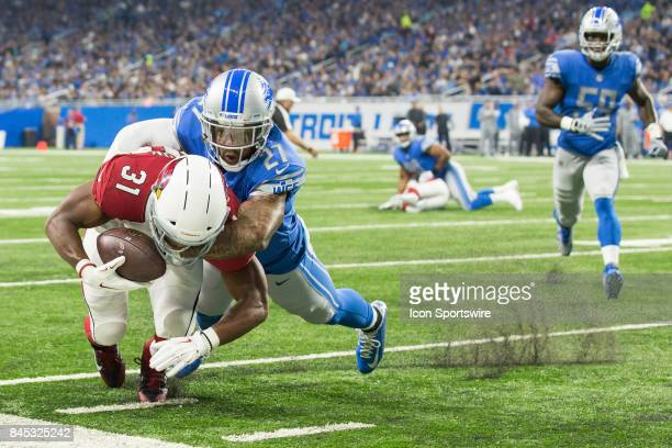 Arizona Cardinals running back David Johnson is tackled by Detroit Lions safety Glover Quin during first quarter game action between the Arizona...