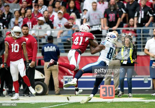 Arizona Cardinals strong safety Antoine Bethea breaks up a pass to Tennessee Titans wide receiver Corey Davis during the NFL football game between...