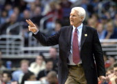 Arizona coach Lute Olson during 9085 loss to Washington in Pacific10 Conference men's basketball tournament semifinal at the Staples Center on Friday...
