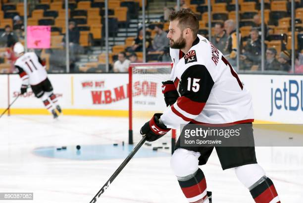 Arizona Coyotes center Brad Richardson skates during warm up before a game between the Boston Bruins and the Phoenix Coyotes on December 7 at TD...