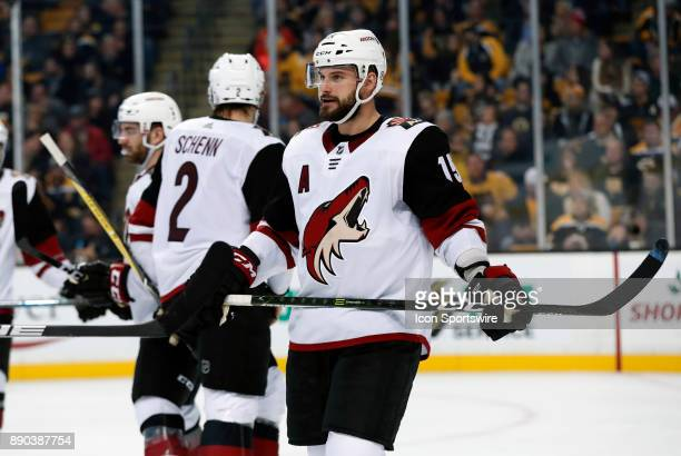 Arizona Coyotes center Brad Richardson waits during a time out during a game between the Boston Bruins and the Phoenix Coyotes on December 7 at TD...