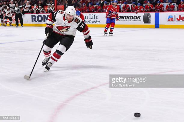 Arizona Coyotes Defenceman Joel Hanley skates towards the puck during the Arizona Coyotes versus the Montreal Canadiens game on November 16 at Bell...