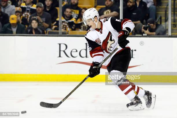 Arizona Coyotes defenseman Connor Murphy receives a pass during a regular season game between the Boston Bruins and the Arizona Coyotes on February...