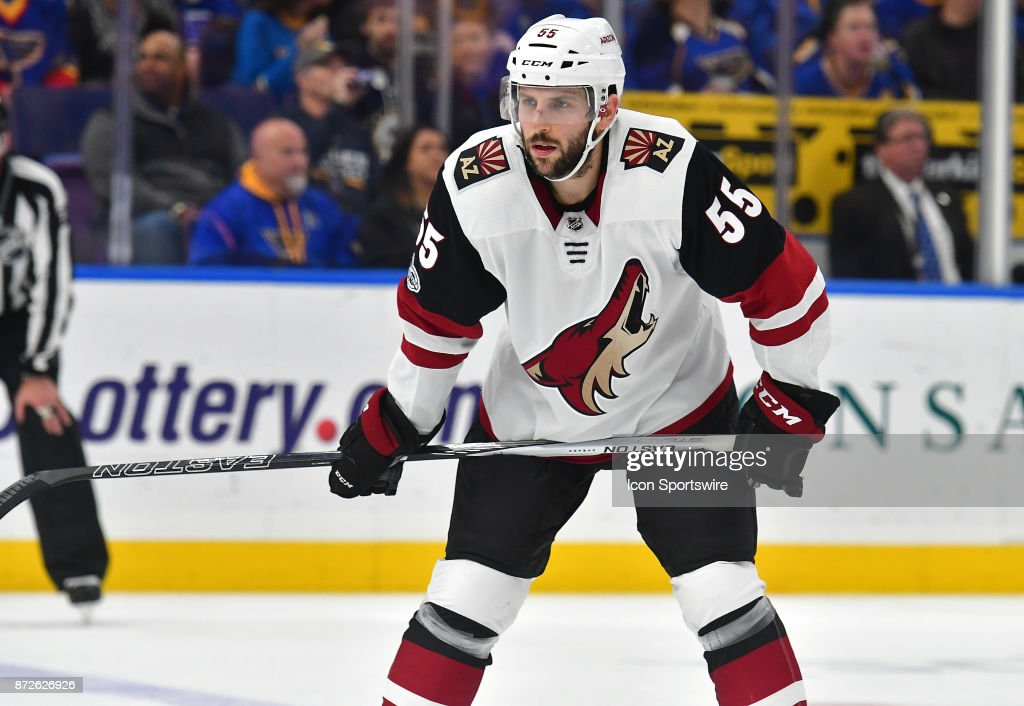 Arizona Coyotes defenseman Jason Demers (55) gets ready to face off during a National Hockey League game between the Arizona Coyotes and the St. Louis Blues on November 09, 2017, at Scottrade Center, St. Louis, MO.