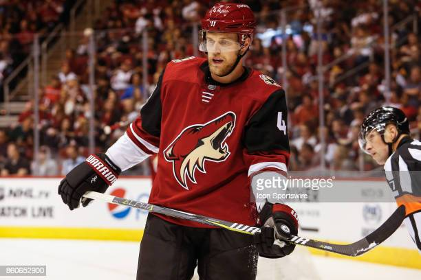 Arizona Coyotes defenseman Kevin Connauton sets up for the face off during the NHL hockey game between the Vegas Golden Knights and the Arizona...