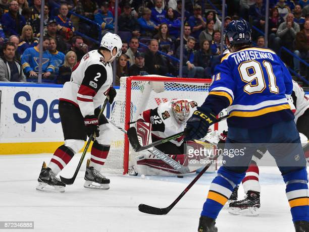 Arizona Coyotes goalie Antti Raanta blocks a shot in the first period by St Louis Blues right wing Vladimir Tarasenko during a National Hockey League...