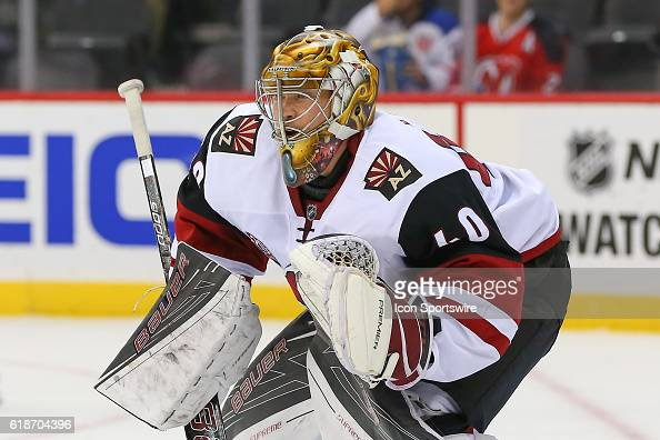 Arizona Coyotes goalie Justin Peters during the first period of the game between the New York Islanders and the Arizona Coyotes played at the...