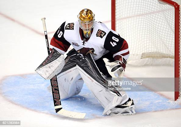 Arizona Coyotes goalie Justin Peters in action during the third period of a game against the Anaheim Ducks played on November 4 2016 at the Honda...