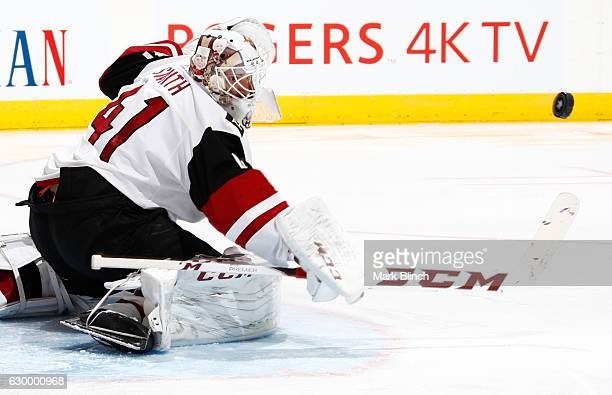 Arizona Coyotes goalie Mike Smith makes a save against the Toronto Maple Leafs at the Air Canada Centre on December 15 2016 in Toronto Ontario Canada